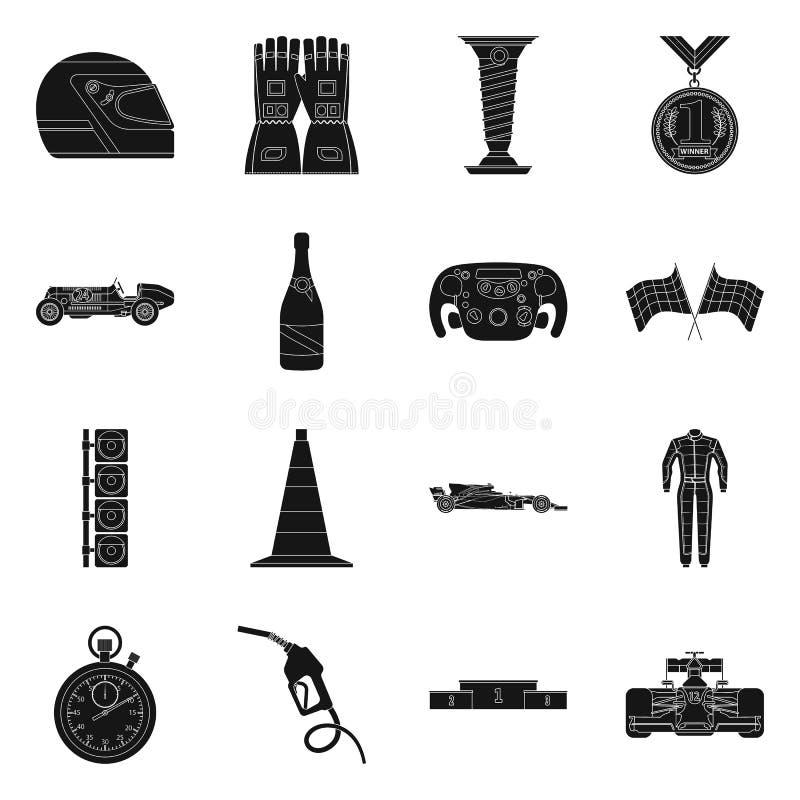 Illustration de vecteur de voiture et de logo de rassemblement Collection de symbole boursier de voiture et de course pour le Web illustration stock