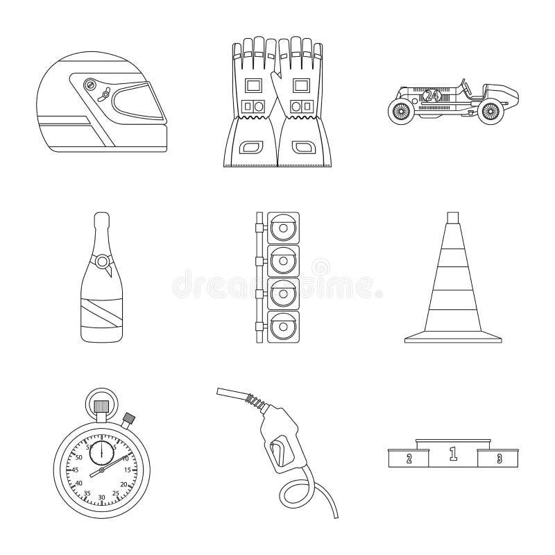 Illustration de vecteur de voiture et de logo de rassemblement Ensemble d'ic?ne de vecteur de voiture et de course pour des actio illustration stock