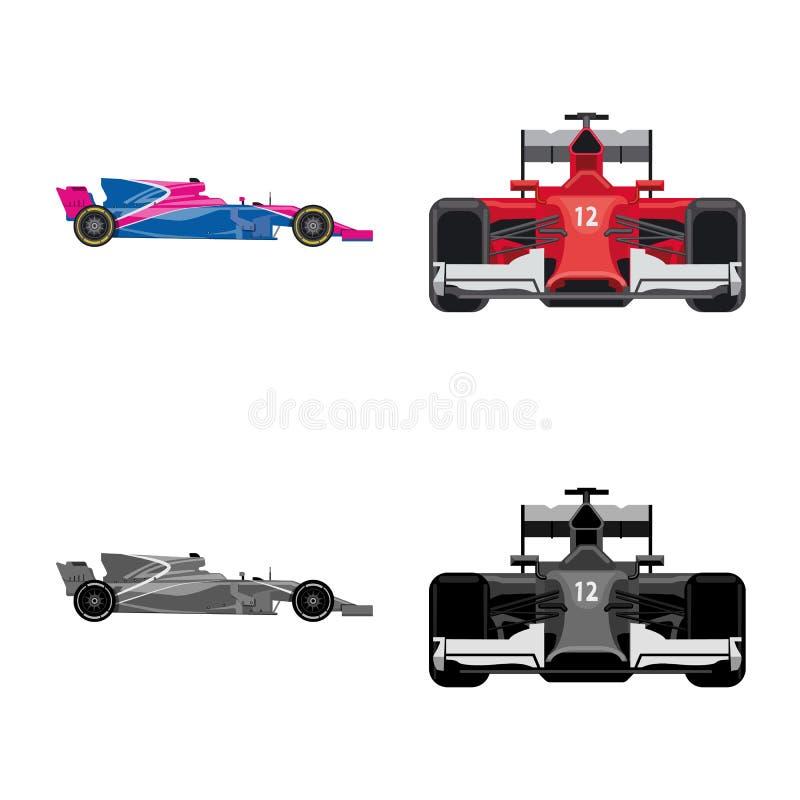 Illustration de vecteur de voiture et de symbole de rassemblement Ensemble de symbole boursier de voiture et de course pour le We illustration de vecteur