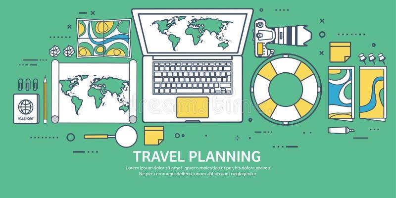 Illustration de vecteur de voyage et de tourisme dans la ligne plate style d'ensemble Voyageant et explorer du monde Expédition d illustration stock