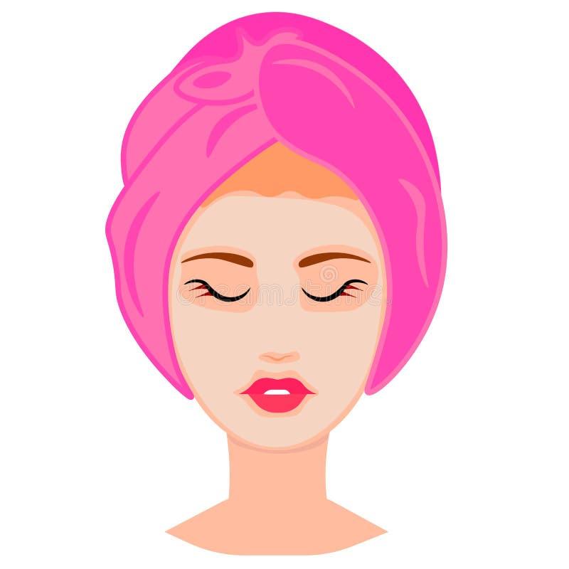 Illustration de vecteur de Web de femme avec le masque facial illustration de vecteur