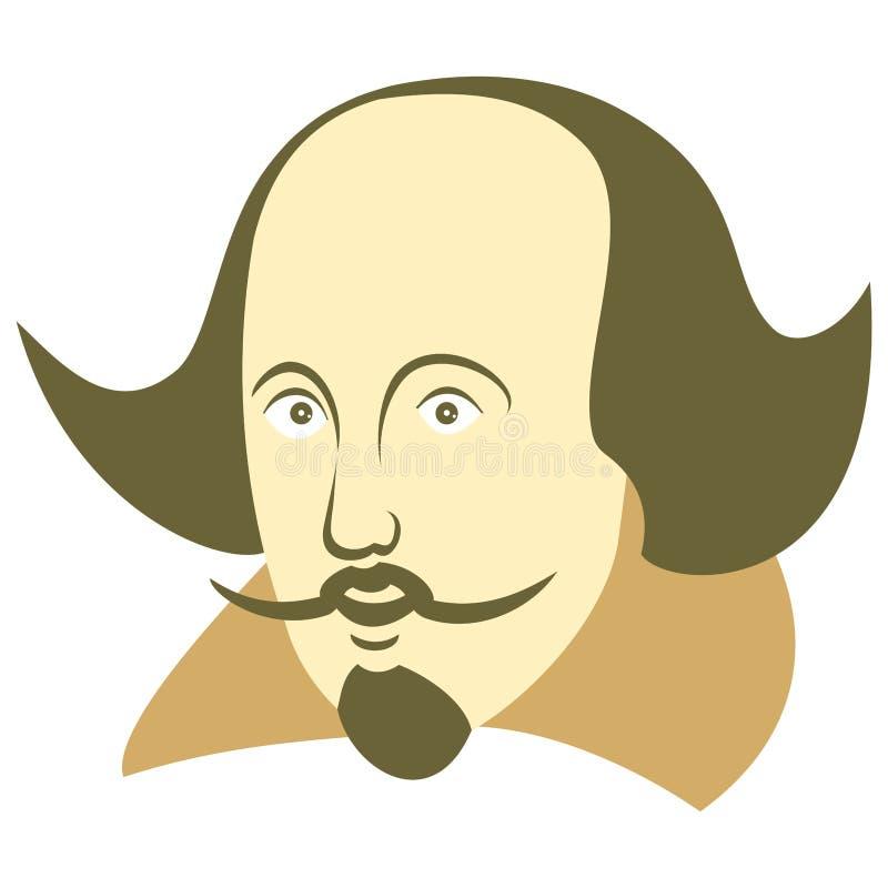Illustration de vecteur de William Shakespeare dans le style de bande dessinée illustration stock