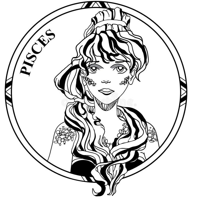 Illustration de vecteur de zodiaque Poissons de signe illustration libre de droits