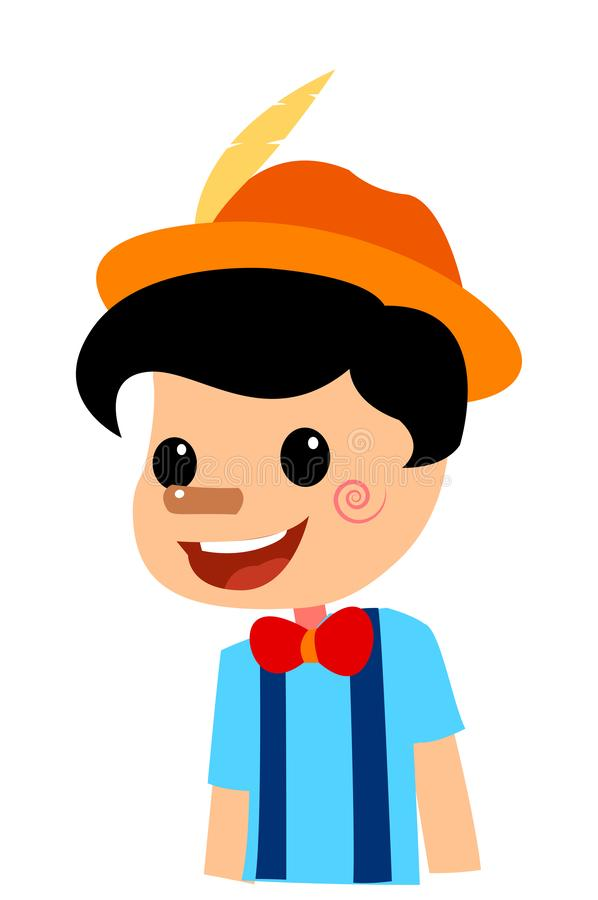 Illustration de Vectoral de conte de Pinocchio Nez court illustration stock