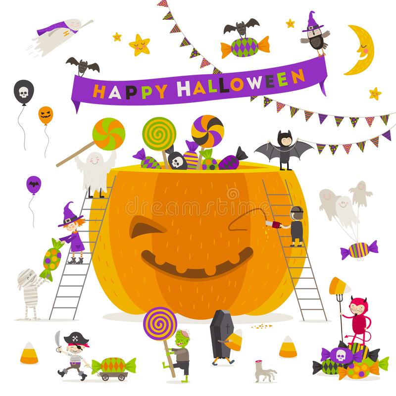 Illustration de Veille de la toussaint Groupe de caractères actifs de Halloween autour d'un potiron illustration libre de droits