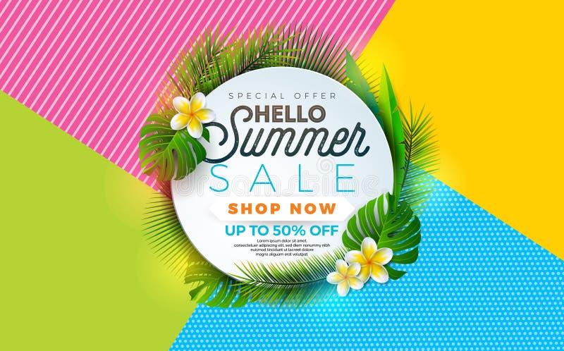 Illustration de vente d'été avec la fleur et la plante tropicale sur le fond abstrait de couleur Calibre de conception de bannièr illustration libre de droits