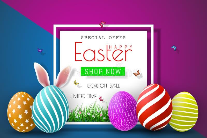 Illustration de vente de Pâques avec l'oeuf et l'élément de typographie peints par couleur sur le fond abstrait Calibre de concep illustration libre de droits