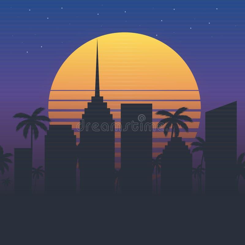 Illustration de ville de nuit de vecteur Fond de paysage urbain Rétro affiche illustration libre de droits