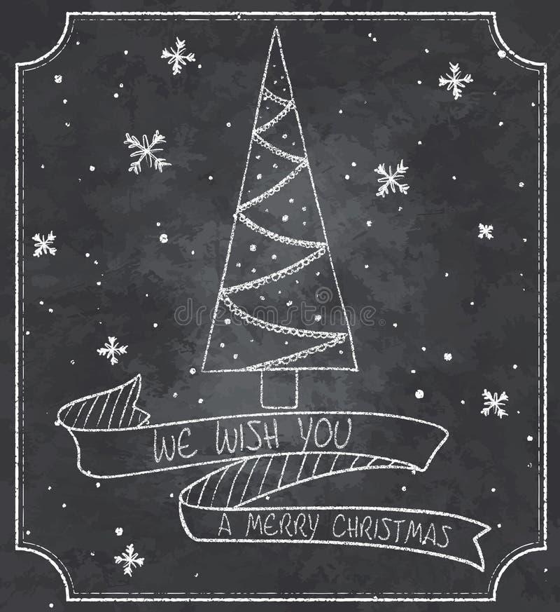 Illustration de vintage de carte de voeux de Noël de tableau avec l'arbre de Noël, les flocons de neige et la bannière de ruban illustration stock