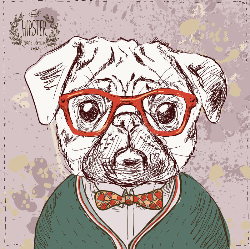 Illustration de vintage de chien de roquet de hippie photo libre de droits