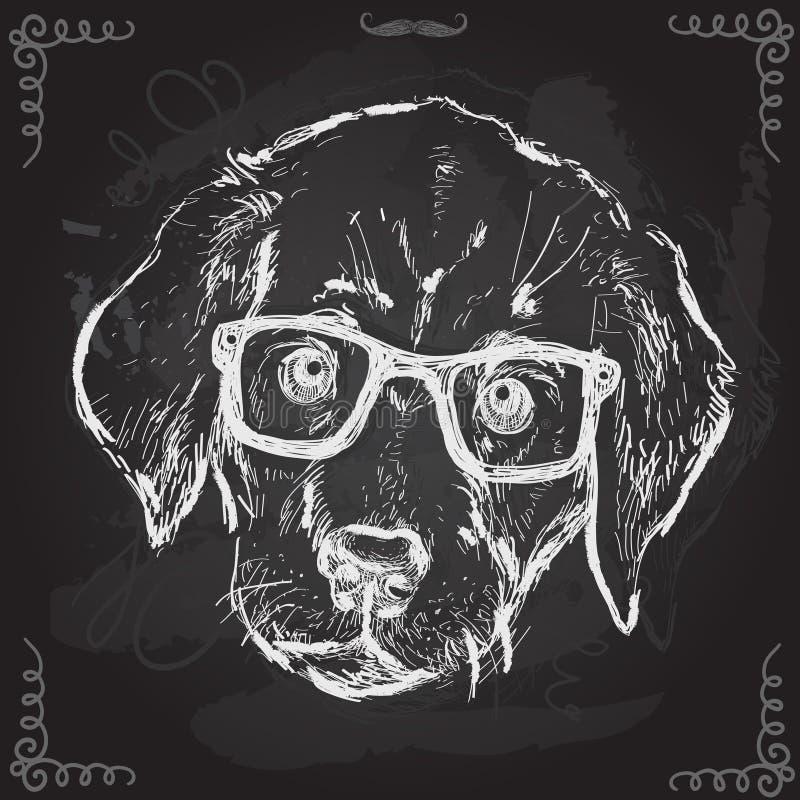 Illustration de vintage de chiot de hippie avec des verres illustration libre de droits