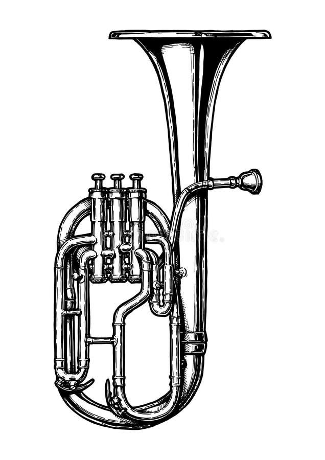 Illustration de vintage de klaxon de tenor illustration de vecteur