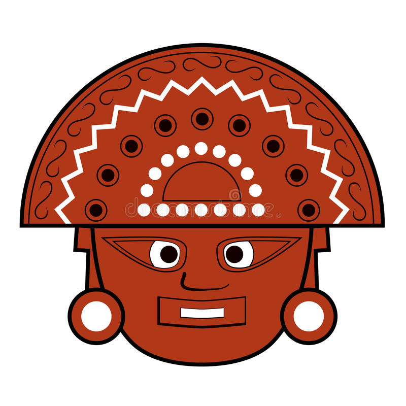 Illustration de visage de totem d'Inca de Brown sur le blanc illustration libre de droits