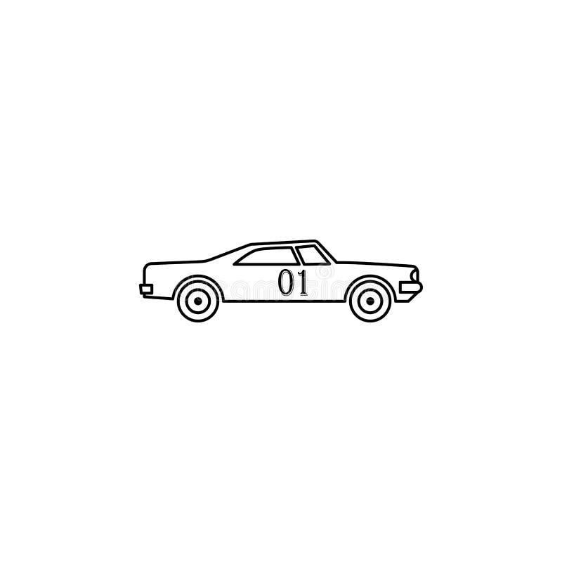 illustration de voiture de course de drogue Élément des courses extrêmes pour les apps mobiles de concept et de Web La ligne minc illustration libre de droits