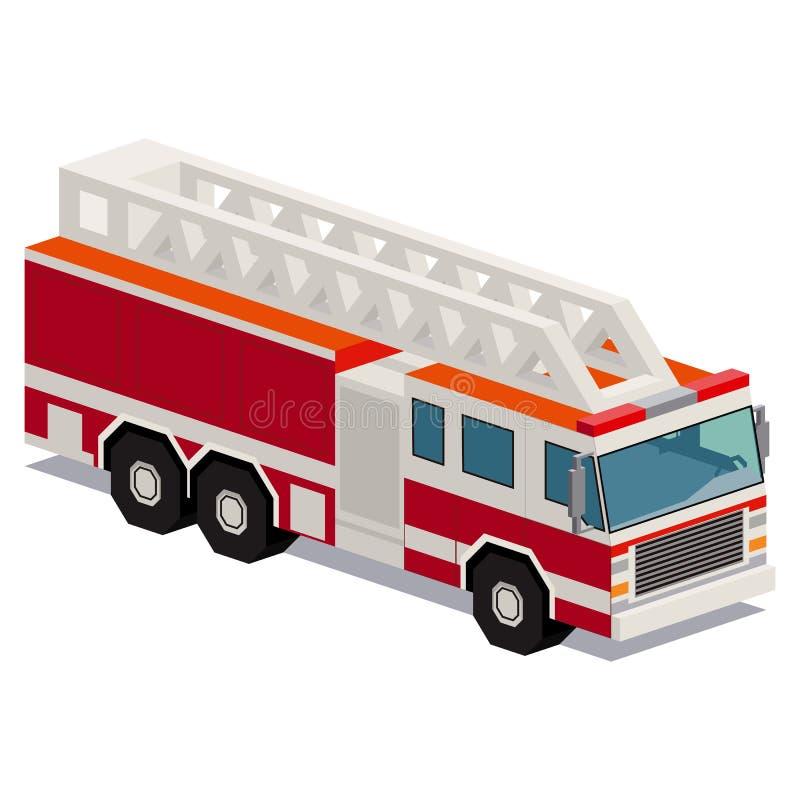 Illustration de voiture de camion de pompiers d'isolement sur le fond blanc illustration libre de droits