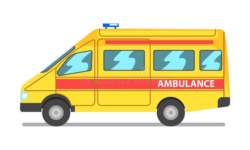 Illustration de voiture de secours, jaune et rouge d'ambulance de service médical de véhicule de vecteur sur un fond blanc illustration stock