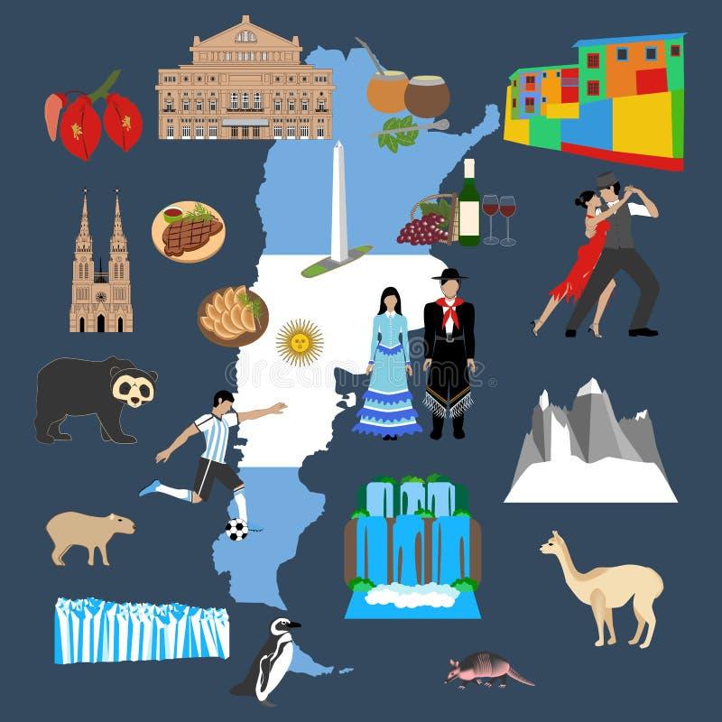 Illustration de voyage de l'Argentine illustration de vecteur