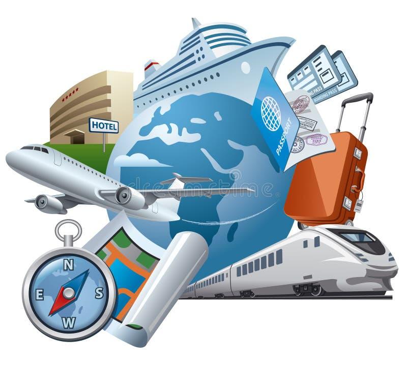 Illustration de voyage et de voyage illustration libre de droits