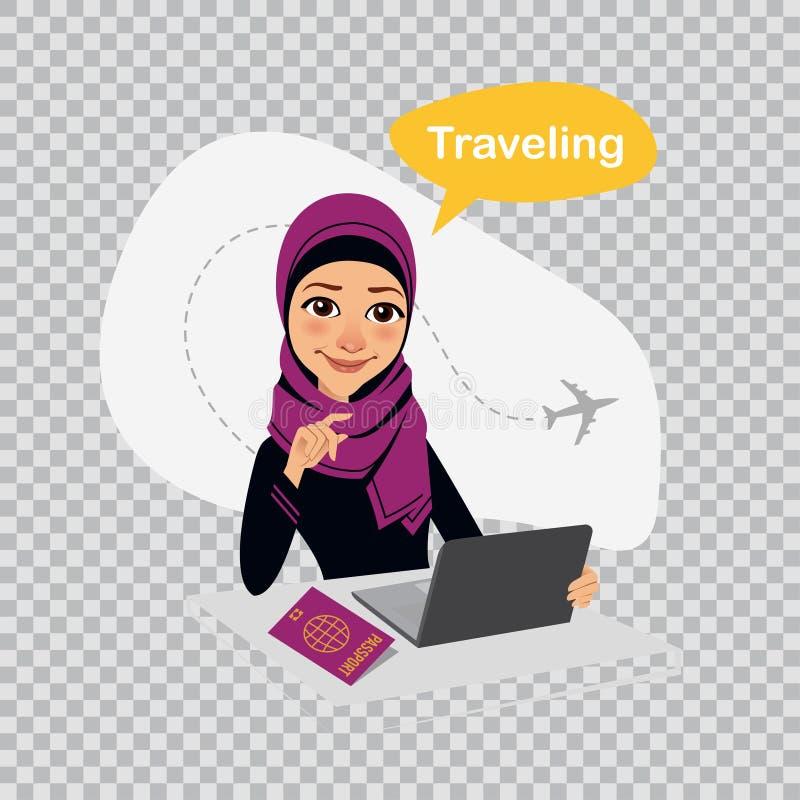 Illustration de voyage sur le fond transparent Voyage au monde La femme arabe travaille dans le bureau sur l'ordinateur portable  illustration stock