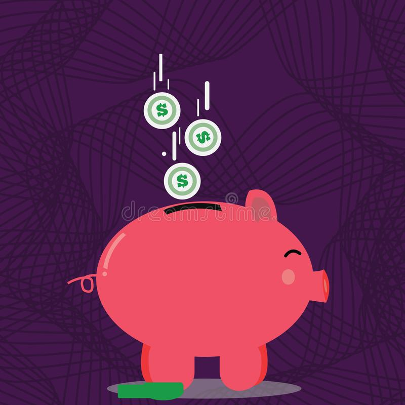 Illustration de vue de côté colorée de tirelire avec des pièces de monnaie de devise du dollar tombant vers le bas à la fente Fon illustration libre de droits