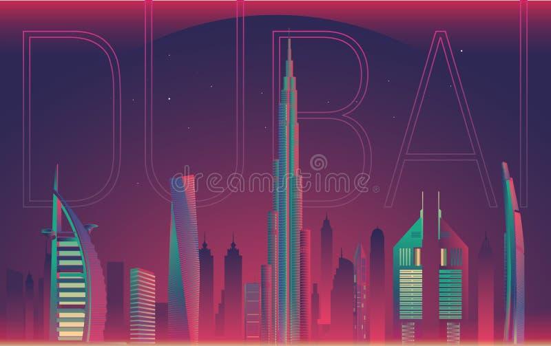 Illustration de vue de nuit de ville du Dubaï de dessin illustration libre de droits