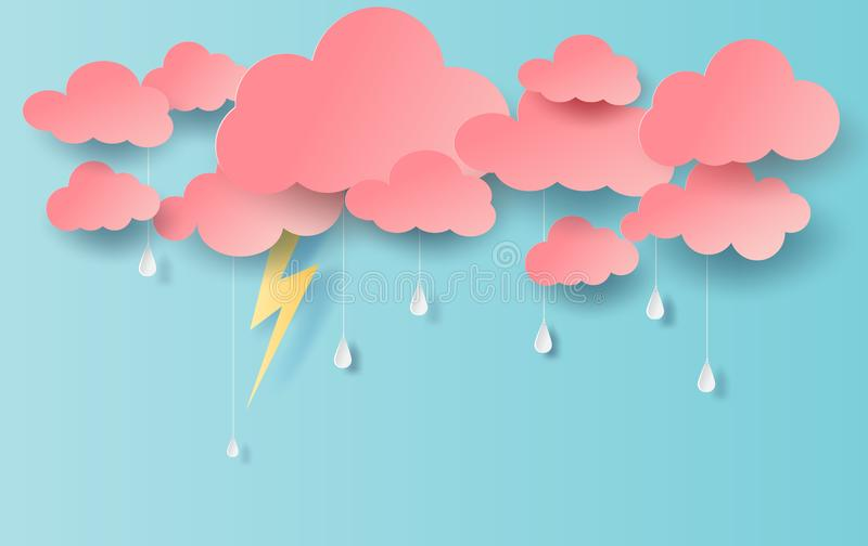Illustration de vue de pluie avec le nuage et d'éclairage jaune sur le ciel bleu Saison des pluies dedans avec la foudre de tempê illustration libre de droits