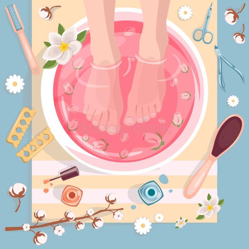 Illustration de vue supérieure de pédicurie de station thermale Concept de salon de beauté Pieds femelles dans la cuvette rose de illustration libre de droits