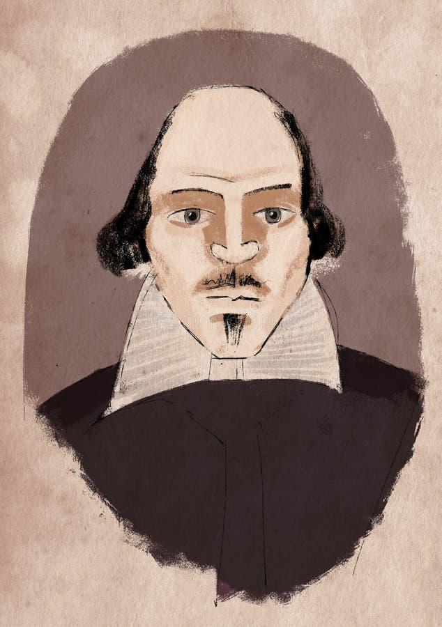 Illustration de William Shakespeare (couleur) illustration libre de droits