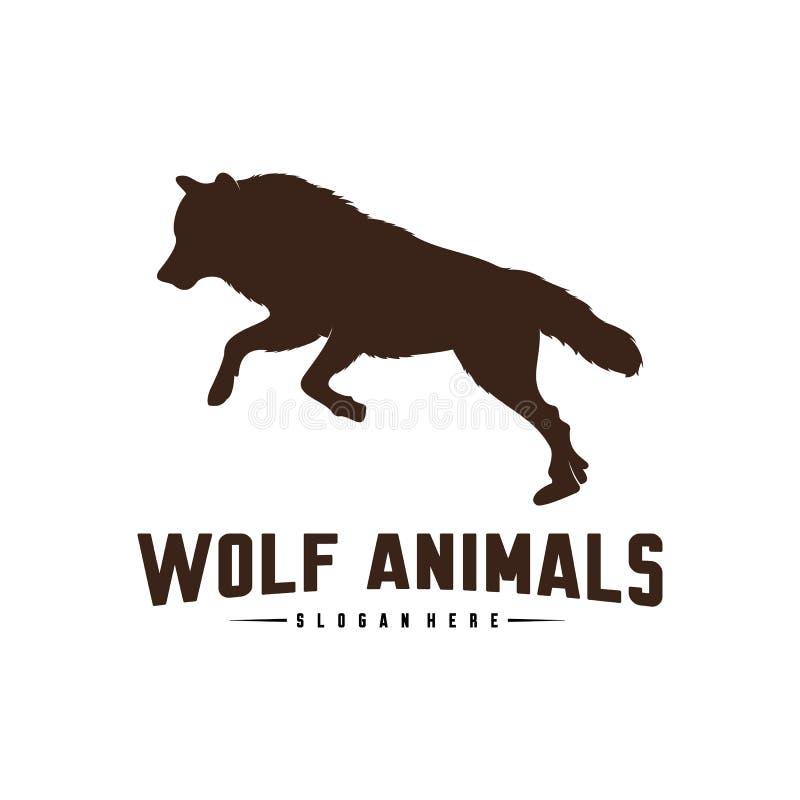 Illustration de Wolf Abstract Logo Design Vector Wolf Logo Template Style plat simple Symbole d'ic?ne illustration libre de droits