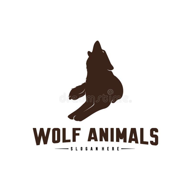 Illustration de Wolf Abstract Logo Design Vector Wolf Logo Template Style plat simple Symbole d'ic?ne illustration de vecteur