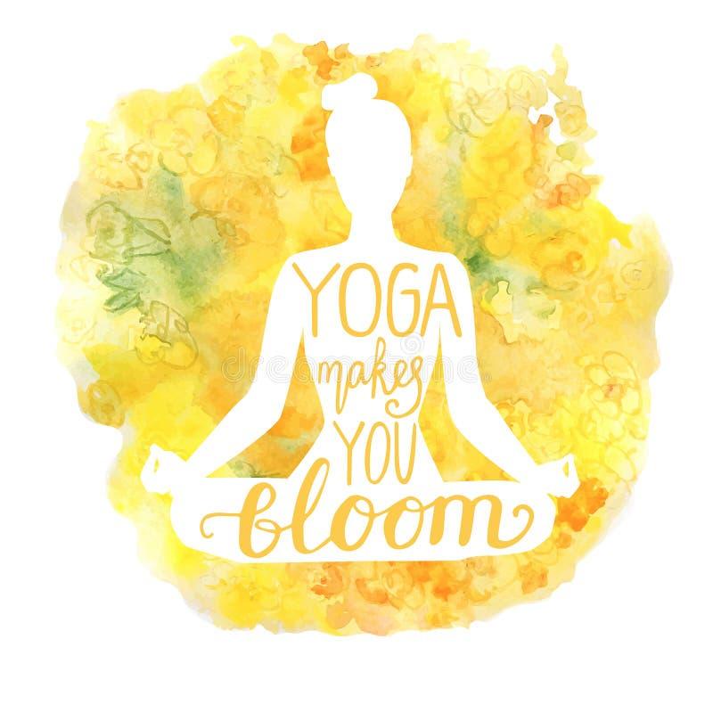 Illustration de yoga de vecteur avec des fleurs d'aquarelle illustration libre de droits