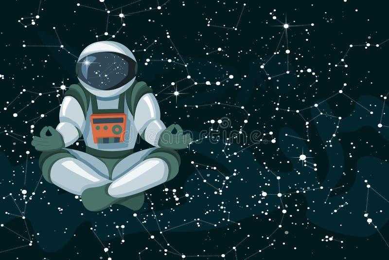 Illustration de yoga de vecteur Ciel cosmique noir avec l'astronaute et les étoiles décoratives illustration libre de droits