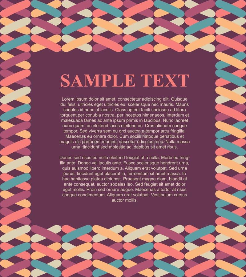 Illustration de zone de texte de conception de calibre avec le fond coloré de cadre de modèle pour le tract, l'affiche, le menu e illustration de vecteur