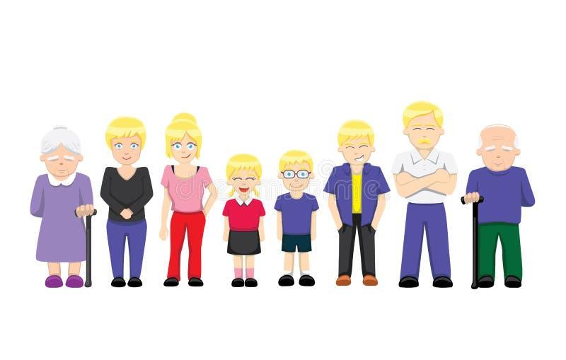 Illustration debout 3 (blonde) de vecteur de bande dessinée de famille illustration libre de droits