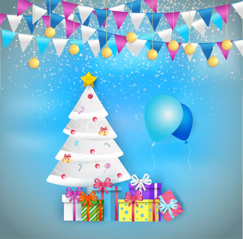 Illustration of decorated christmas tree with gift boxes and balloon decoration balls and lamps. Merry Christmas and a happy new. Year. Paper art and digital stock illustration