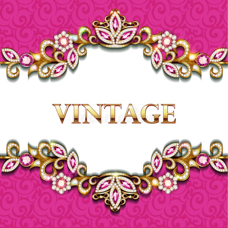 Decorative volumetric vintage background frame with gold ornaments and precious stones. Illustration decorative volumetric vintage background frame with gold vector illustration