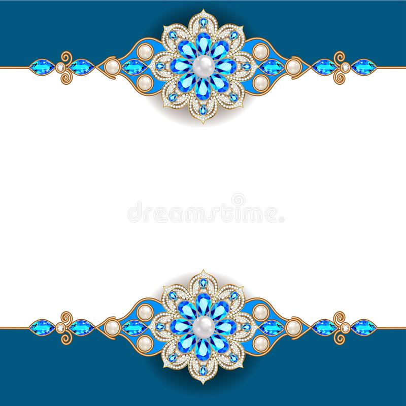 Decorative volumetric vintage background frame with gold ornaments and precious stones. Illustration decorative volumetric vintage background frame with gold royalty free illustration