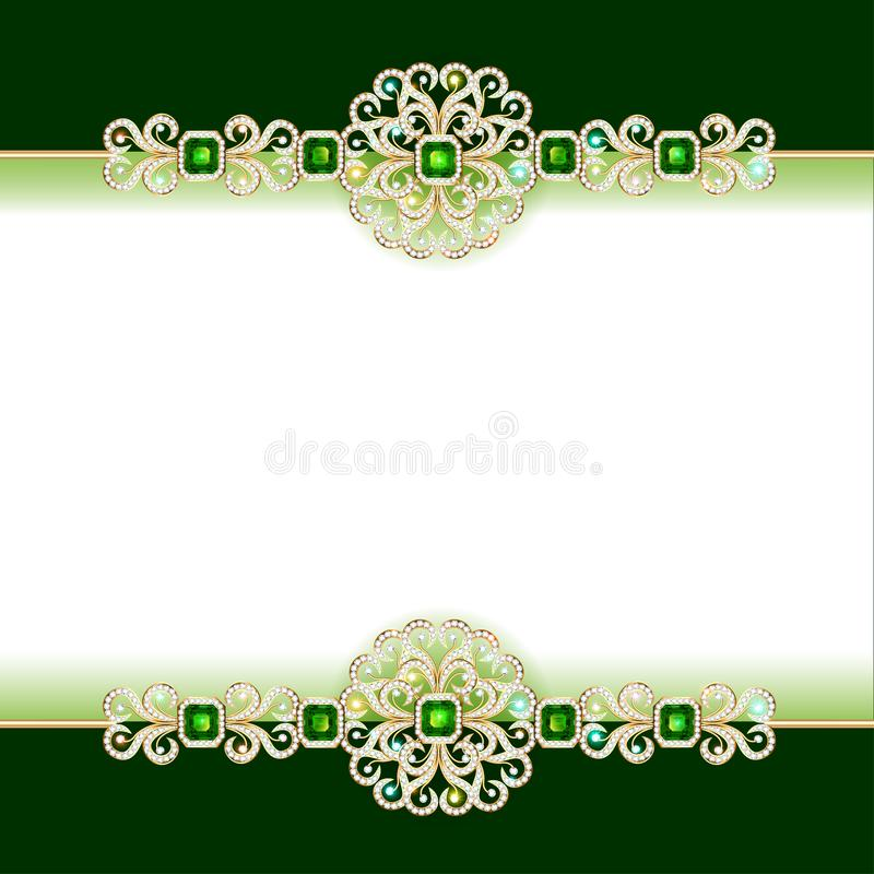Decorative volumetric vintage background frame with gold ornaments and precious stones. Illustration decorative volumetric vintage background frame with gold stock illustration