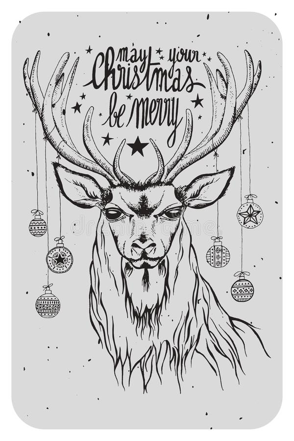 Illustration of a deer with christmas decorations and quote vector illustration