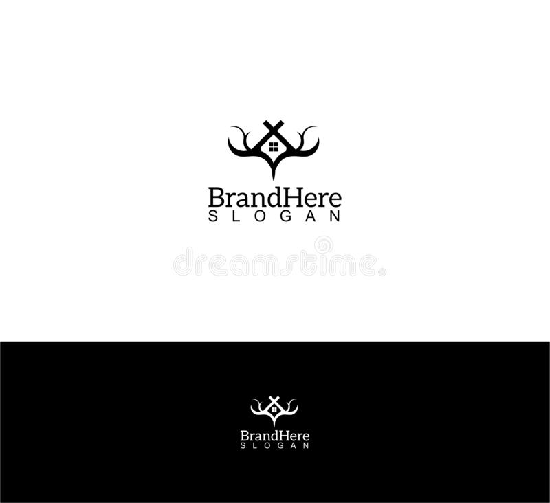 Deer home logo template. Illustration of a deer horn combined with home.. It will suit for logo template of real estate near of wildlife vector illustration