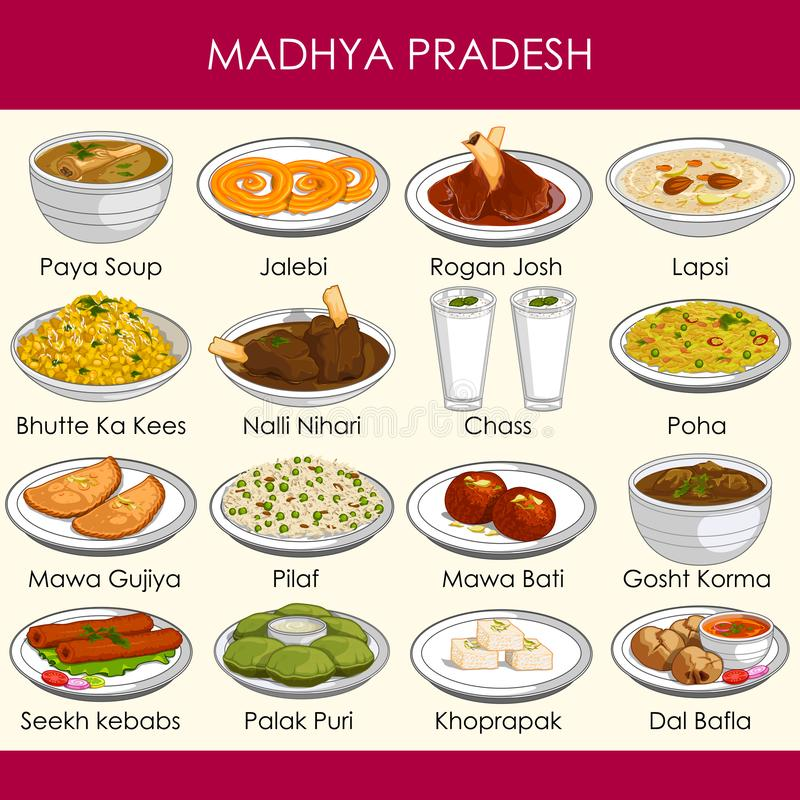 Illustration of delicious traditional food of Madhya Pradesh India vector illustration