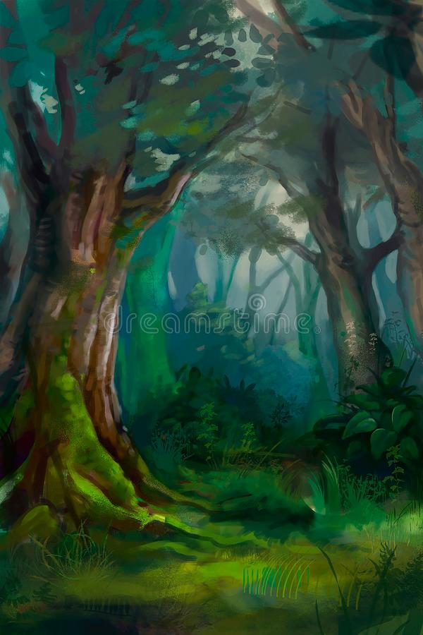 Illustration of dense forest vector illustration