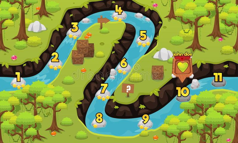 Jungle and River Game Level Map vector illustration