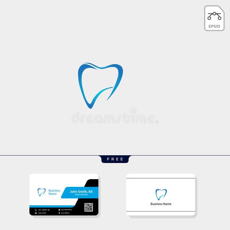 illustration dentaire de vecteur de calibre de logo d'icône, design de carte libre d'affaires illustration stock