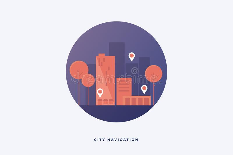 Illustration depicting silhouettes of city buildings and trees. Ð¡oncept of modern navigation apps on city streets. Flat design. Vector illustration stock illustration