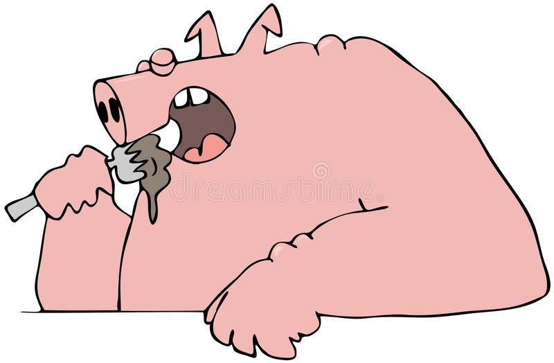 Download Pig eating with a fork stock illustration. Image of utensil - 30102443