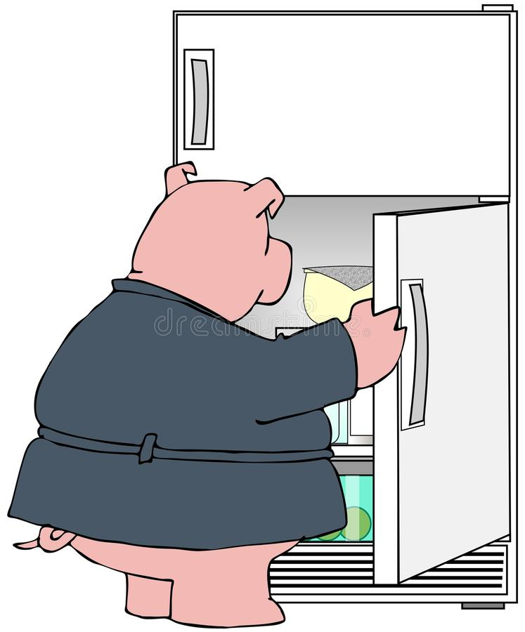 Download Pig Looking In A Refrigerator Stock Illustration - Image: 30121603