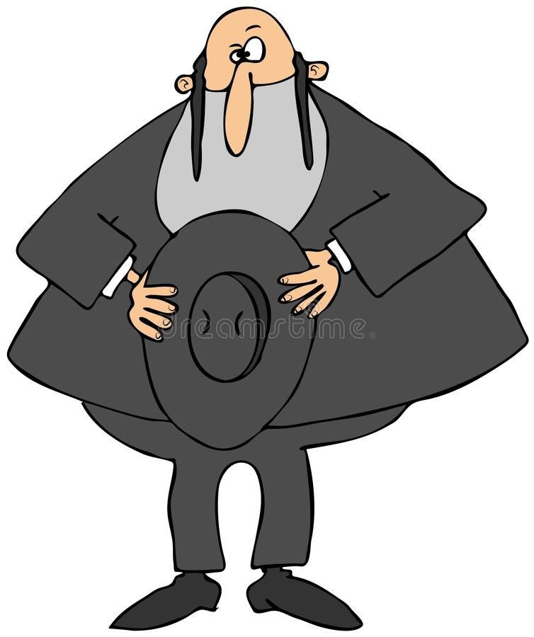 Rabbi holding his hat. This illustration depicts a Jewish Rabbi holding his hat over his heart stock illustration