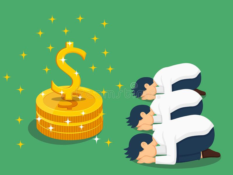 Illustration depicts people`s worship of money. Dollar sign. Vector art image and clipart stock illustration