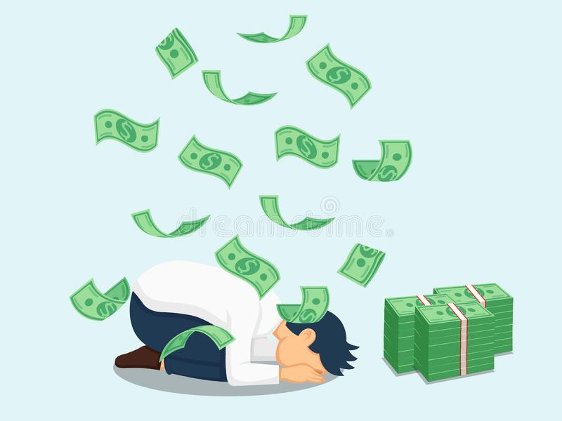 Illustration depicts people`s worship of money. Dollar sign. Vector art image and clipart. Bank and Finance royalty free illustration